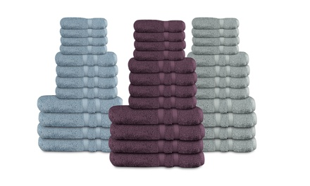 12-Piece Beautiful Things Home 600GSM 100% Cotton Plush Zero-Twist Towel Set