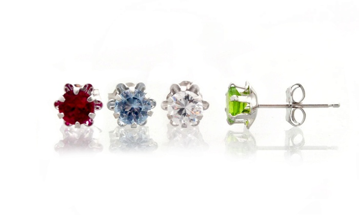 Created Birthstone Studs in 14k White Gold: Birthstone Studs in 14k White Gold. Multiple Stones Available. Free Shipping and Returns