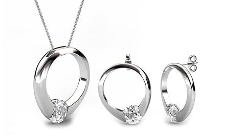 Schmuckset mit Kristallen von Swarovski®-Ohrringen und Halskette (11,95 €)
