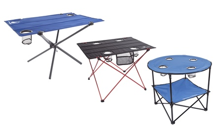 Wakeman Folding Camp Table With Cup Holders And Carrying Bag (multiple  Options)