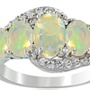 1.20 CTTW Ethiopian Opal and White Topaz Ring in Sterling Silver