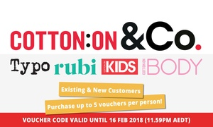 Cotton On Group: $5 for $20 to Spend Online at Cotton On, Typo, Cotton On Kids, Cotton On Body & Rubi (Min Spend $60)