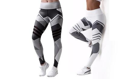 Damen Sport-Leggings mit geometrischem Print in Weiß oder Grau