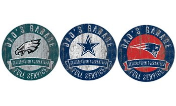 "Fan Creations 12"" NFL Distressed Dad's Garage Sign"