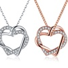 18K Gold Plated Pave Inception Heart Necklace with Swarovski Elements