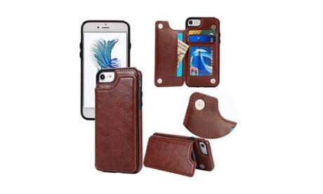Funda de cuero sintético para iPhone o Samsung con ranuras para tarjetas