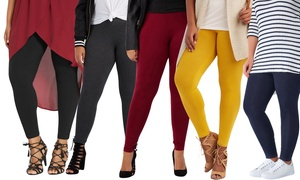 Women's Plus Size Cotton-Blend Leggings (3-Pack)