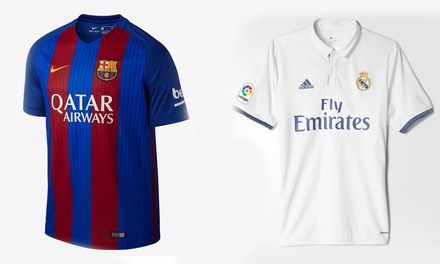 Nike Barcelona Home Jersey or Adidas Real Madrid Home Jersey at Niky's Sports Santa Monica