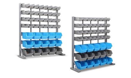 WallMounted Storage Rack: 30 $29, 44 $39, 48 $49 or 47Bin StandAlone $109