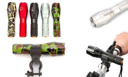 1 ou 2 lampes de poche extrême militaire avec zoom x5 et support de vélo en option