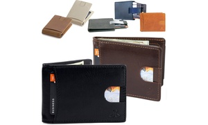 Men's Bifold Genuine Leather Wallet with RFID Blocking and Money Clip
