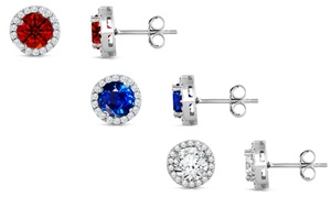 3.00 CTTW Cubic Zirconia Halo Studs in Sterling Silver by Mina Bloom