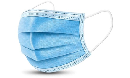 50 or 100 Three-Ply Disposable Face Masks