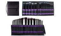 Groupon.com deals on Makeup Brush Set with Foldable Organizer 15-Piece