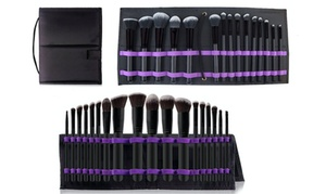 Makeup Brush Set with Foldable Organizer (15-Piece)