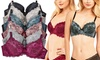 Women's Contrasting Floral Lace Scalloped Bras (6-Pack)