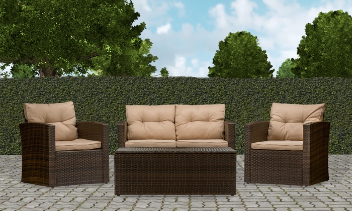 imperia outdoor patio furniture set 4 piece groupon On outdoor furniture groupon