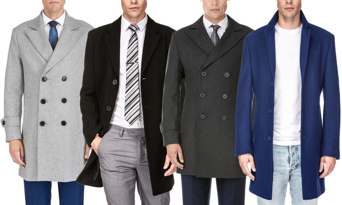 Braveman Men's Single or Double Breasted Wool Blend Coat (S-3XL) | Groupon