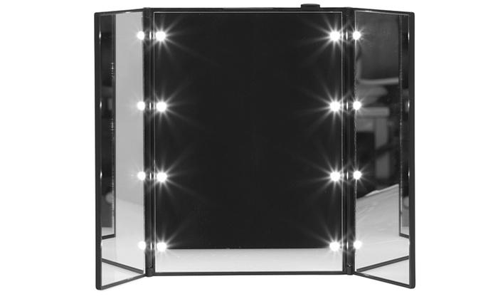 Triplo specchio con 8 led groupon goods - Specchio make up professionale ...