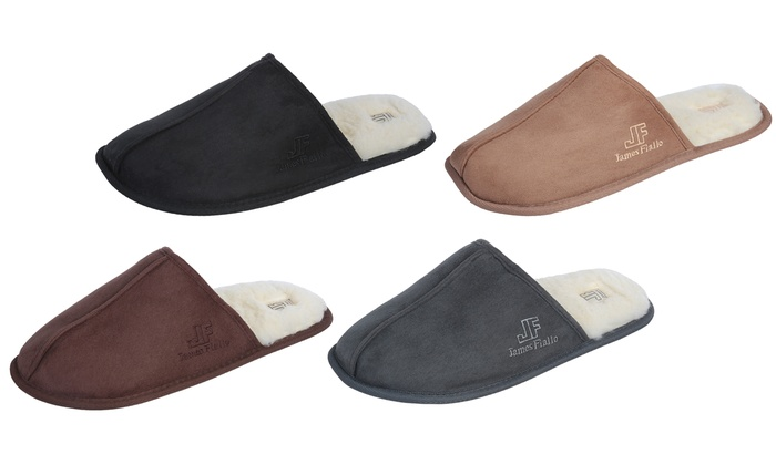 J. Fiallo Men's Fleece-Lined Scuff House Slippers