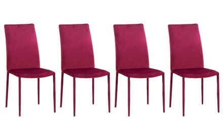 Set di 4 sedie rivestite in velluto