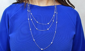 Sterling Silver Cubic Zirconia Elegance Necklace. Multiple Lengths Available.