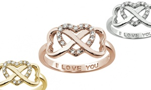 "Sterling Silver ""i Love You"" Infinity Rings"