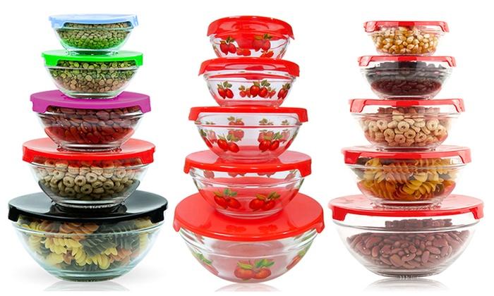 5-Piece Glass Nesting Bowls: 5-Piece Glass Nesting Bowls