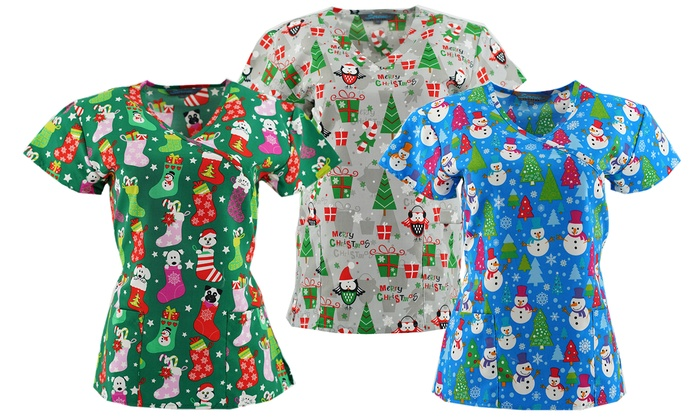 Women's Christmas Theme Novelty Medical Scrub Tops. (S-4X)