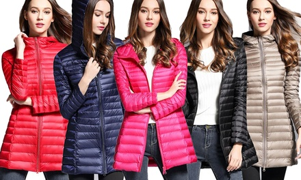 100% Down Longline Women's Hooded Puffer Jackets in Choices of Size and Colour: One ($39) or Two ($69)