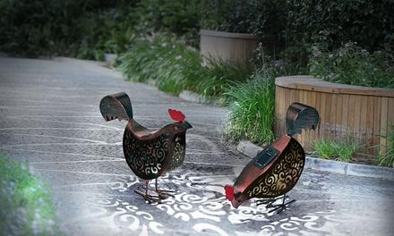 1 ou 2 poules LED solaires décoratives pour jardin