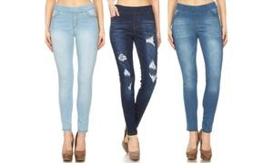 Jvini Women's Skinny Pull-On Denim Jeggings (3-Pack)