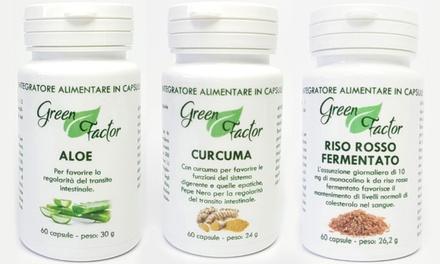 Fino a 180 capsule di integratori alimentari all'Aloe, Riso Rosso fermentato e Curcuma