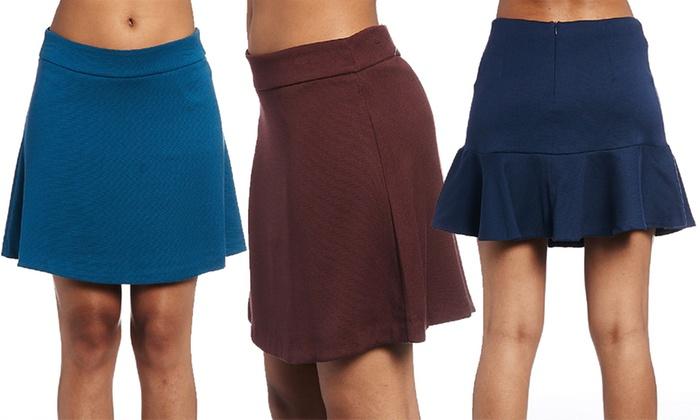 Women's Plain or Textured Fluted Mini Skirt