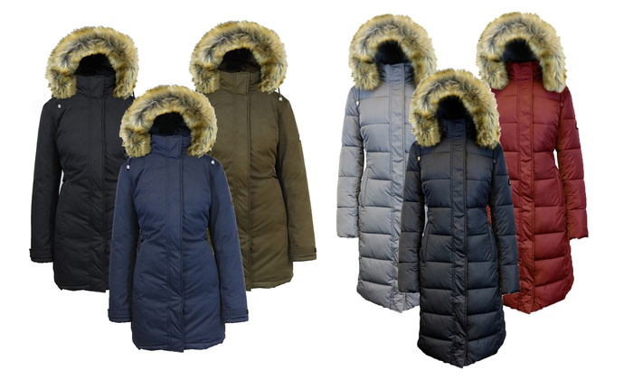 Women'S Long Parka With Fur Hood
