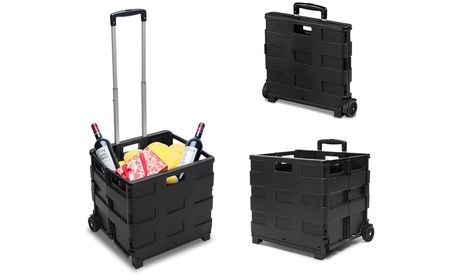 Carrito de compra negro plegable de plástico con capacidad de hasta 25 kg