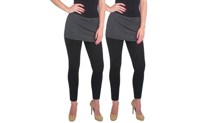 Women's Supersoft Cotton-Blend Skirt Leggings (2-Pack)