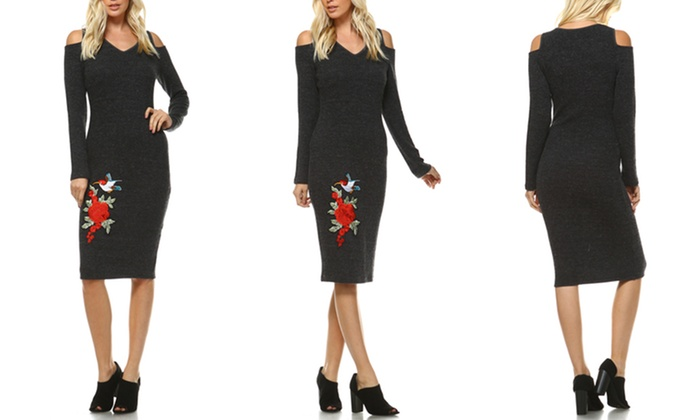 f31771a0408 Women s Olympia Cut-Out Shoulder Embroidered Midi Sweater Dress. Women s  Embroidered Midi Dress