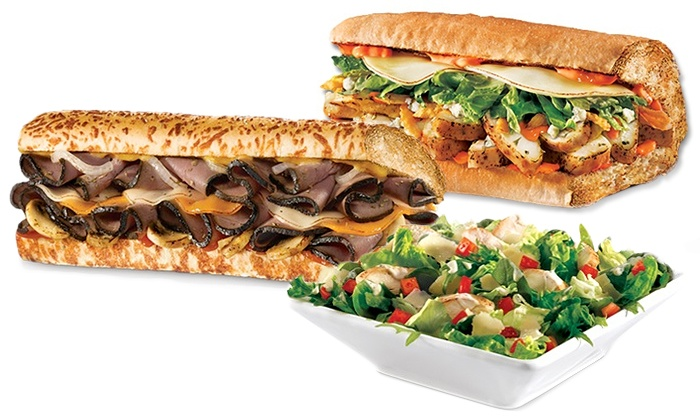 Quiznos - Multiple Locations: Three or Five Groupons, Each Good for $12 Worth of Sandwiches and Salads at Quiznos (Up to 52% Off)