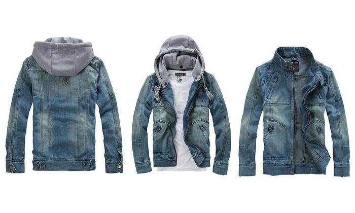 65af7cc40 Veste homme en jean avec capuche molleton intégré