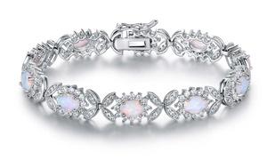 Peermont 18K White Gold Plated Fire Opal Butterfly Tennis Bracelet