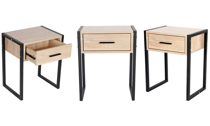 Wooden Bedroom Bedside Table Cabinet with Drawer from £27.98 (53% OFF)