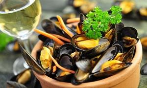 Le petit Pré Salé: Echte Zeeuwse mosselen op het Sint-Katelijneplein bij restaurant Le petit Pré Salé