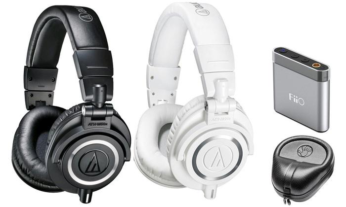 Audio-Technica ATH-M50x Professional Studio Headphones with Optional Case and Amp