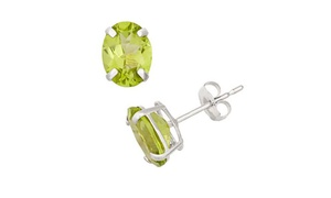 2.00 Cttw Oval Genuine Peridot Studs