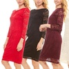 Seranoma 3/4-Sleeve Fitted Knee-Length Lace Pencil Dress
