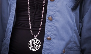 $30 For A Necklace With 2-inch Monogram And 36-inch Chain Plated In Sterling Silver From Monogramhub ($130 Value)