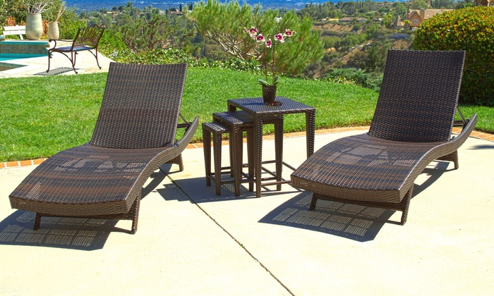 5x Lounge Chair : Up to off on chaise lounge set pc groupon goods