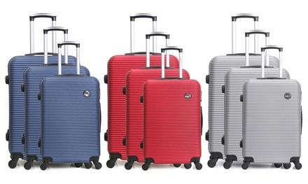 Set 3 valises en ABS, 4 roues multi directionnelles, coloris au choix