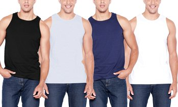 SEL Men's Classic Fit 100% Cotton Tank Tops (4-Pack; S-3XL)